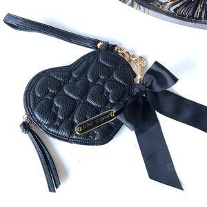 Betsey Johnson Black Heart Key Ring Pouch Wallet
